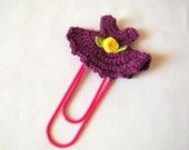 Crochet dress bookmark office gift ideas crochet heart small gift ideas thank you gift ideas teacher gift ideas paper clip purple gift