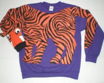 Tiger Sweatshirt on purple, Tiger Shirt, go Tigers, Adult sweater, Cat, tiger stripe, small, medium, large, xlarge, jumper, Clemson colors