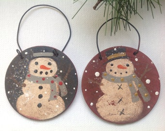 Primitive Snowmen Wooden Christmas Ornament Pair, Wooden Snowman Gift Tags
