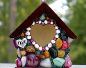 Miniature Whimsical garden birdhouse with Pink stones and silver Love charms unique gift pearl and pink heart entrance