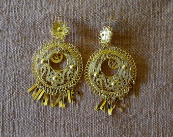 Mexican Tehuana style gold wash LARGE hoop earrings - Frida Kahlo style - drop 3 1/2""