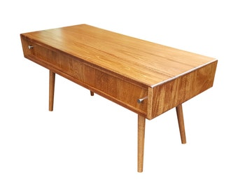Mid Century Inspired Coffee Table with Doors MADE TO ORDER 90 days