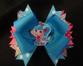 Shopkins inspired bow, Shoppie Doll Jessicake 5 inch bow