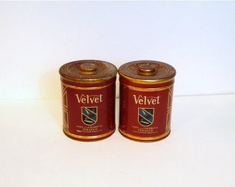 ON SALE Vintage Tobacco Tins - Velvet Tobacco - Vintage Advertising - Red Tin