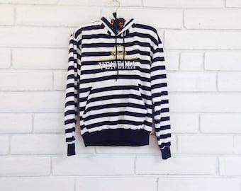 80's STRIPED VENEZIA SWEATSHIRT vintage pullover hoodie fleece top jumper gold metallic Italian designer S