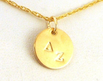 Gold Delta Zeta Necklace - Gold DZ Jewelry - Simplicity Series - Official Licensed Product