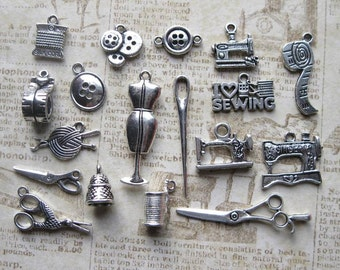 18 Sewing Crafts Charms Collection in Silver Tone - C2289
