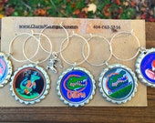 Set of 6 Florida Gator inspired wine glass charms including awesome silver gator charm for the wine lover in your life....