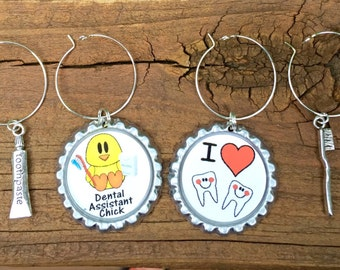 Dental assistant wine glass charms