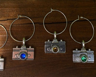 Photographer camera wine glass charms