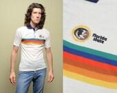 FSU polo shirt vintage 70s 80s rainbow stripe Florida State University polo shirt 1970 1980 short sleeve cream white S/M