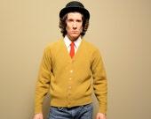 vintage 60s Arrow cardigan mustard yellow green 1960 mens sweater Knitknak Knit Knak wintuk orlon medium M