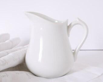 French vintage pitcher stonewear ironstone white