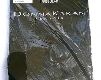 Vintage Off Black Pantyhose Donna Karan Hosiery Satin Tall Mini Body Toner 5 Feet 5 Inch Thru 6 Feet 155 Pound Up To 195 Lbs Nylon Style 252