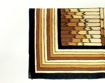 6pc Set Vintage Cloth Dinner Napkins, modernist geometric design, earth tones, 1970s