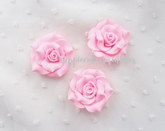 2pcs - Large Light Pink Fancy Clay Rose Decoden Cabochon (45mm) FXL10011