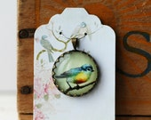 """Bird Vintage Inspired Brass and Glass Bubble Necklace (#52) - """"Rozie Series"""""""