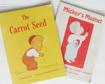 Vintage Childrens Books Lot of 2 Crockett Johnson The Carrot Seed Mickey's Magnet Paperback Gift Idea Kids Illustrations