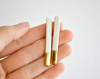 White extravaganza studs - porcelain earrings - ceramic jewelry - gold dipped stud earrings - Jasmin Blanc