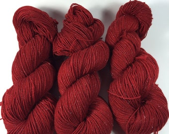 Sparkle, silver,  Hand Dyed yarn, Merino Yarn, 100 grams, Lady In Red, handdyedyarn, yarn, semi solid, red