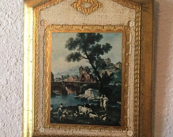 Vintage Gold Gilt FLORENTINE Framed Italian Wood Wall Plaque, Empire, Made in Italy Tole d