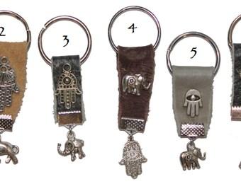 Hamsa keychain, leather keychain, evil eye key chain, Hamsa key chain
