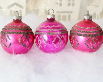 Pink Vintage Christmas Ornaments Shiny Brite Magenta Fuschia Geometric Silver Glitter Set of 3 Three 1950's