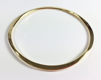 Gold BRASS Bangles - Hammered Flat & Round - Custom Design and Fit - Handcrafted Bracelets