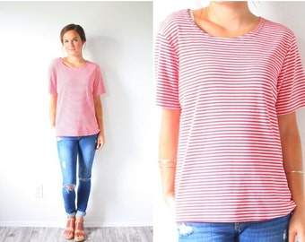 20% OFF BIRTHDAY SALE Vintage red loose stripe shirt // striped short sleeve shirt // sailor nautical summer shirt // striped blouse / overs