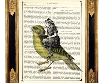 Girl riding on a yellow Bird - Vintage Victorian Book Page Art Print Steampunk