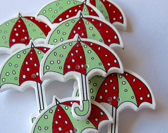 Green and Red Umbrella Wood Buttons Lot of 8