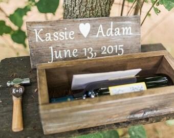 Rustic Chic Wedding Wine Box Ceremony Wedding Anniversary Wine Box First Fight Wine Box Custom Wood Wine Box Wedding Wine Gift White Wash