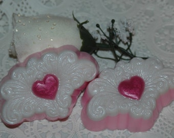 Lace Heart soaps ~ Valentine's Heart Soaps ~ Arabesque Heart Soaps ~ Filigree Heart Soaps ~ Set of 2 Victorian Heart Soaps