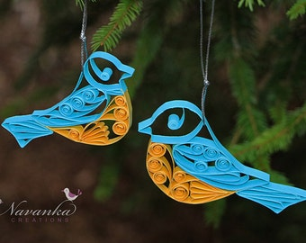 Paper Quilling Mother and Child Bird Ornaments in gift box, Bird Keepsake,Mother's Day, Paper Quilled Bird, Baby Shower, Christmas
