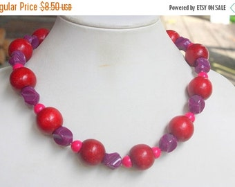 MOVING SALE Half Off Eclectic Boho Cranberry Wood  and Purple Acrylic Beaded Vintage 1980s Necklace