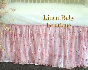 Pink Crib Skirt. Pink Sheer Sequined Crib Skirt. Ready to Ship!