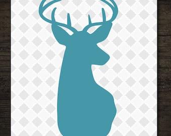 Woodlands Blue Deer Buck Head Silhouette on Gray Quatrefoil Pattern Printable Artwork / 8x10 Instant Art Print