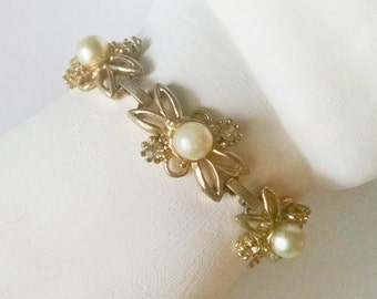 Bracelet Faux Pearls Rhinestones Gold Tone Flowers Vintage Wedding Jewelry Jewellery Bridal Party Prom Gift Guide Women