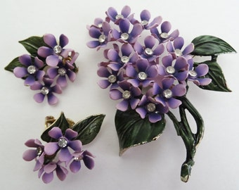 Vintage Brooch//Matching Earring//Lavender//Rhinestons//Floral//1950s//Jewelry Set