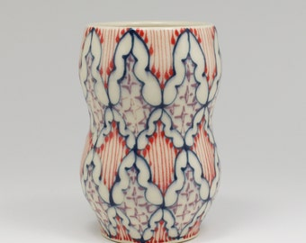 Ceramic Handmade Small Vase - with Navy, Red and Purple Pattern