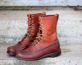 Wonderful super rustic late 1960s oil tanned bullhide hunting / tromping boots by Gokey of St. Paul, Minnesota - USA Made estimated 9 to 10