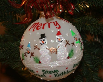 Christmas Snowman Family Personalized Ornament - Handpainted and Made to Order