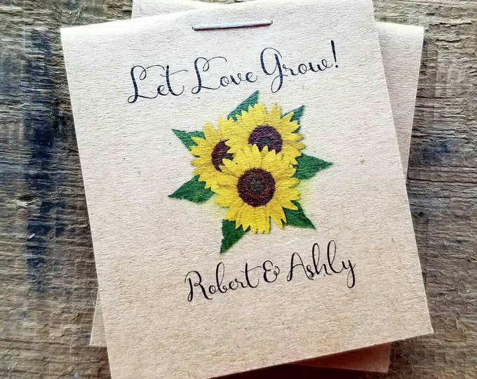 Mini Rustic Wedding Reception Favors - Bridal Shower Favors -Cutest Little Inexpensive Seed Packets with Sunflowers personalized SALE