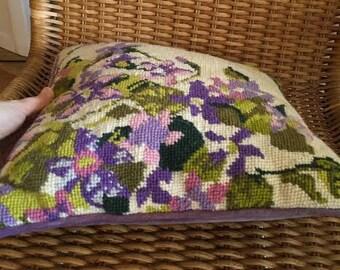 Vintage Handmade Floral Needlepoint Pillow, Purple Iris, Purple Velvet
