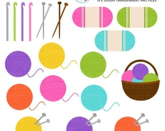 Knitting Clipart Set - clip art set of knitting and crochet items - personal use, small commercial use, instant download