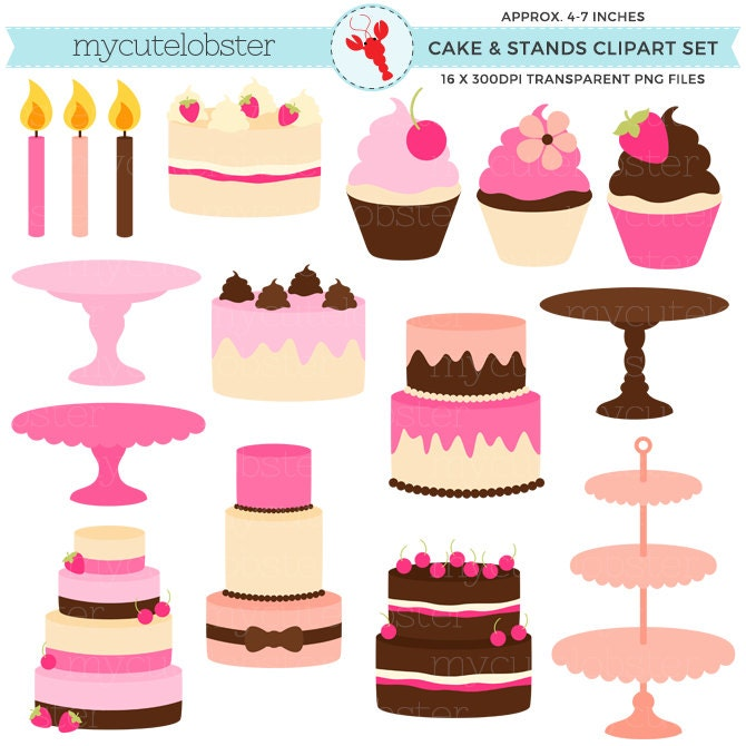 Pretty cakes stands clipart set cakes stands cupcakes for Pretty cake stands
