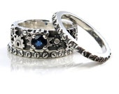 Steampunk Stacking Gear Ring with Blue Sapphire - Gear and Rivets Sterling Silver Bands