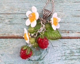 Strawberry lampwork pendant, flower necklace, lampwork necklace fresh necklace, OOAK , nature necklace, fruit necklace, Gift for a woman