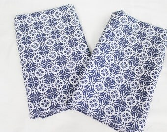 Blue Flowered Cloth Napkins - Double Sided, Thick and Large - set of 2