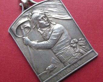 Napoleon Silver Antique French Art Medal Pendant By L O Mattei Circa 1900  SS462